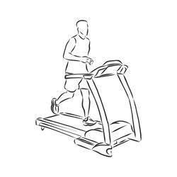 sports trainer ,treadmill, vector sketch illustration. Treadmill doodle style sketch illustration hand drawn vector