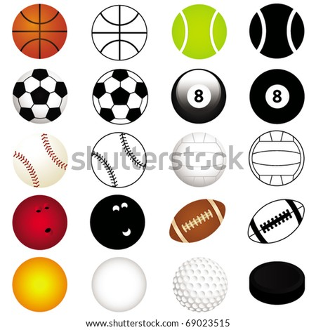 Sports Vector - football, soccer, tennis, rugby, bowling, basketball, baseball, etc. Different balls in color and silhouette icon collection isolated on white background