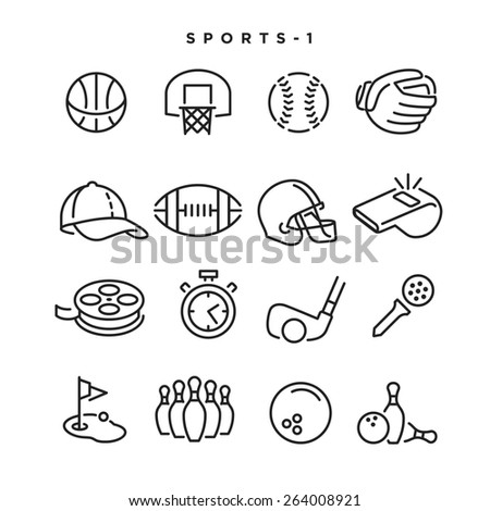 Sports vector icons Elements for print mobile and web applications