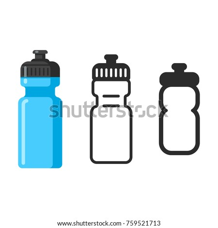 Sports water bottle icon set. Flat cartoon style, outline icon and simple line pictogram. Isolated vector illustration.