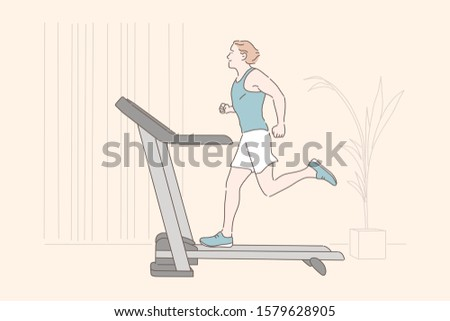 Sports workout, endurance home training, physical exercise concept. Young sportsman jogging on treadmill, healthy lifestyle, active recreation, man using gym equipment. Simple flat vector