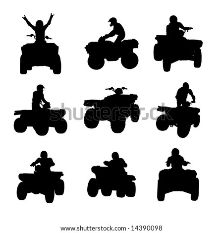 stock vector : Sportsman riding quad bike silhouettes