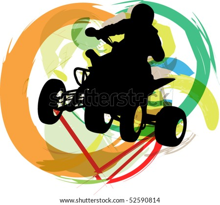 stock vector : Sportsman riding quad bike. Vector illustration