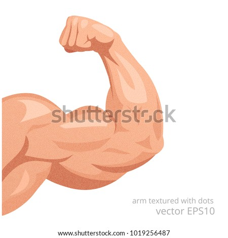 Sportsman's arm with a strong biceps. Vector symbol of the healthy power. Detail of a male athletic body textured with a vintage dots. Grainy tense muscles of the hand isolated on a white background.