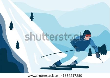sportsman skiing on slope in