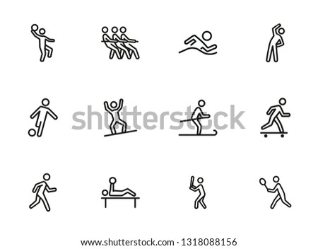 Sportsmen line icon set. Athlete, game, competition. Sport concept. Can be used for topics like fitness, active lifestyle, activities