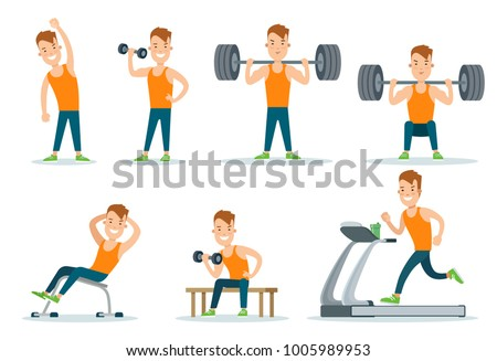 Sportsmen pumping iron gym workout exercise flat web infographic vector. Icon set of running treadmill horizontal bar dumbbells training. Creative people collection.