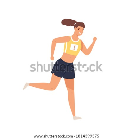 Sportswoman professional runner jogging vector flat illustration. Smiling athletic woman in sportswear running isolated on white. Positive female enjoying physical activity and healthy lifestyle Foto stock ©