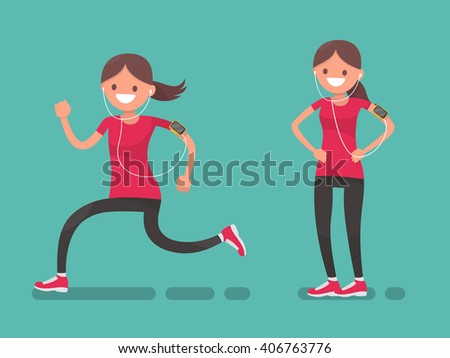 sportswoman running and after