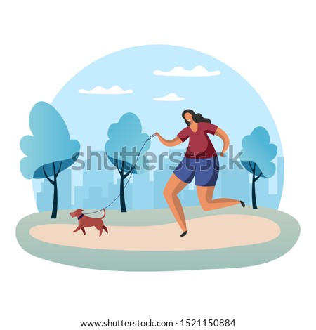 Sportswoman running with dog on lead or woman in park jogging with snood. Scamper of female or outdoor exercise, training. Simple people and marathon, girl cardio and healthcare, run, jog theme
