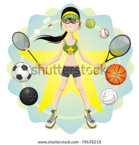sporty athlete girl holding racket of sports icon like basketball soccer volleyball tennis badminton softball bowling