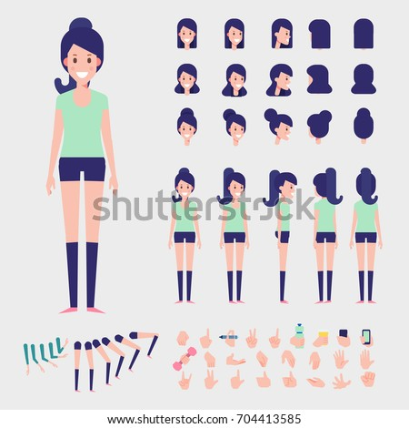 Sporty Girl character for your scenes. Vector Character creation set with various views, hairstyles and poses. Parts of body template for design work and animation.