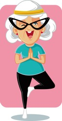 Sporty Granny in Yoga Pose Vector Cartoon. Senior woman in tree pose exercising for better health and articulations mobility