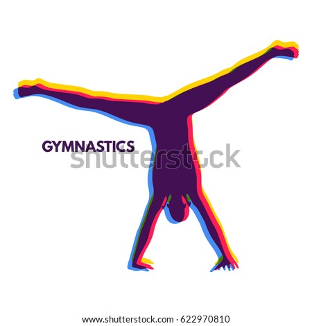 Sporty man doing handstand exercise. Gymnast. Silhouette of a Dancer. Gymnastics Activities for Icon Health and Fitness Community. Sport Symbol. Vector Illustration.