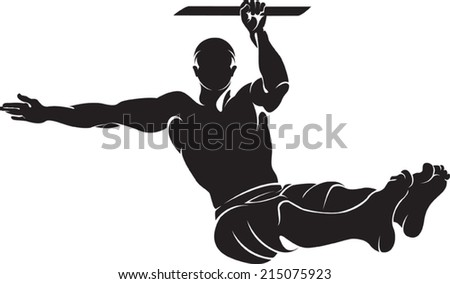 Sporty man doing street workout exercise. Vector illustration.