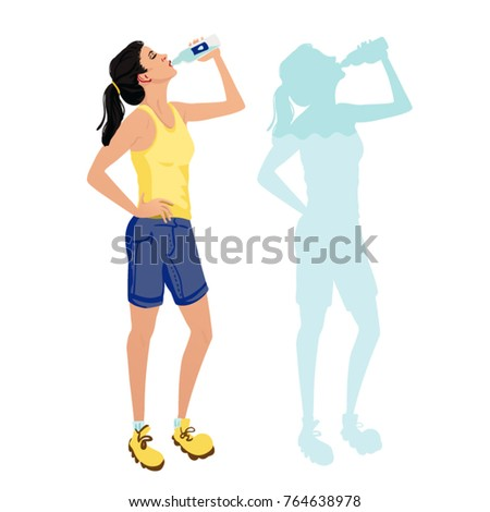 sporty woman drinking water and