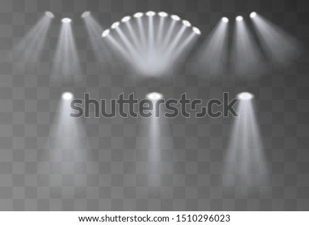 Spot lighting of the scene, a collection of bright spotlights shining on the stage. Spotlight, vector graphics