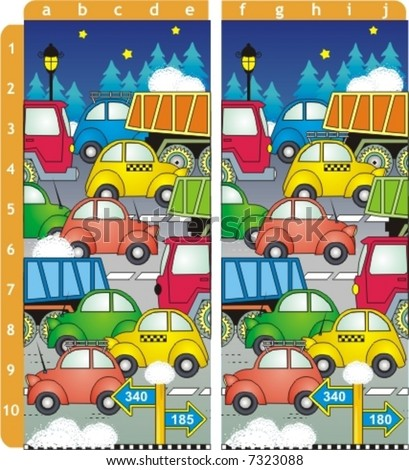 Spot ten differences picture puzzle. Answer: b1, c2, e2, c3, a5, a6, d7, c8, a9, e10  ( for high res JPEG or TIFF see image 2645310 )