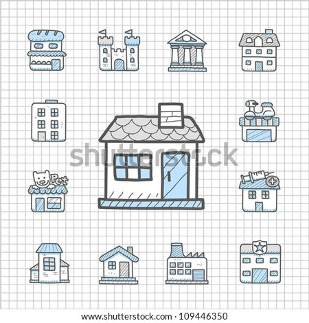 Spotless Series | Hand drawn building icon set