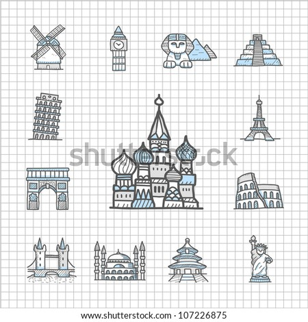 Spotless series | Hand drawn Famous location,Landmark ,travel,vacation, trip icon set