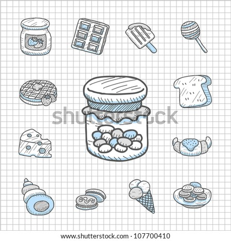 Spotless Series | Hand drawn Snack,food  icon set