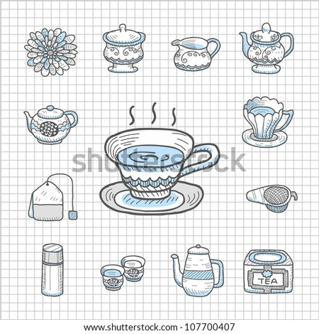 Spotless Series | Hand drawn Teatime,tee  icon set - stock vector