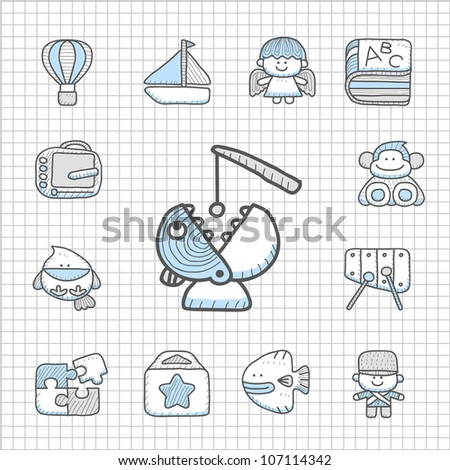 Spotless series | Hand drawn Toy,baby icon set