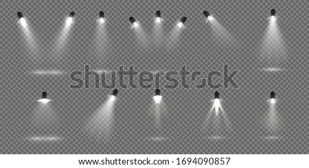 Spotlight for stage. Realistic floodlight set. Illuminated studio spotlights for stage. Vector illustration stage lighting effect for theater or concert backdrop Stock fotó ©