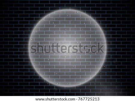 Spotlight Illuminates Brick Wall Vector Illustration Eps 10