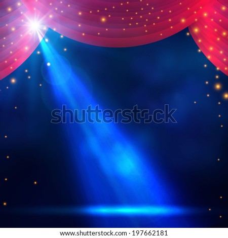Spotlight on curtain with smoke & light Vector illustration