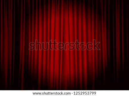 Spotlight on stage curtain. Theatrical drapes. Vector illustration.