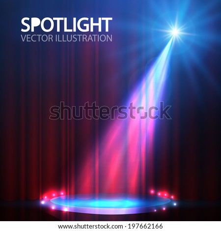 spotlight on stage curtain with