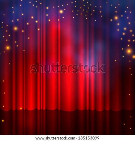 Spotlight on stage curtain with smoke & lights. Vector illustration.