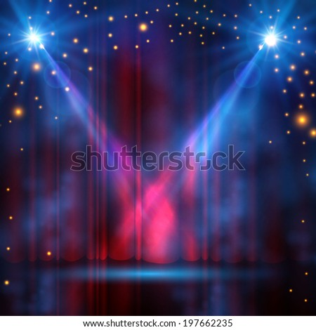 spotlights on stage curtain