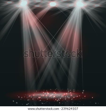 spotlights on stage with smoke
