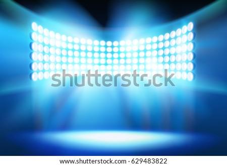 Spotlights on the stadium. Vector illustration.