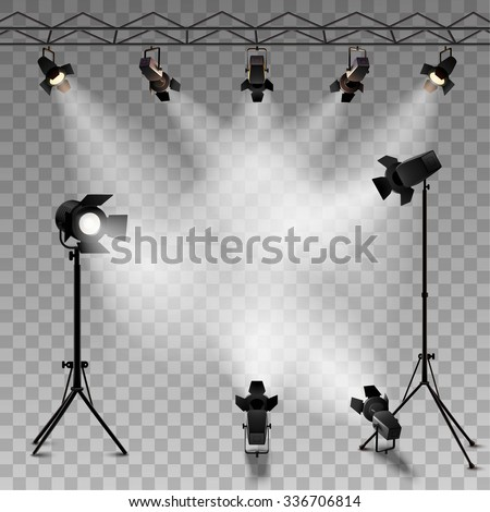 Shutterstock Spotlights realistic transparent background for show contest or interview vector illustration