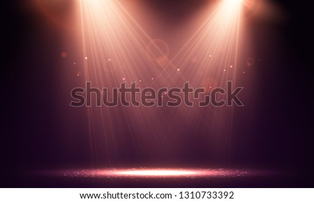 Spotlights. Scene for presentation illuminated by spotlights. Vector  illustration.