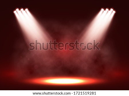 Spotlights. Scene for presentation illuminated by spotlights with smoke. Vector illustration.