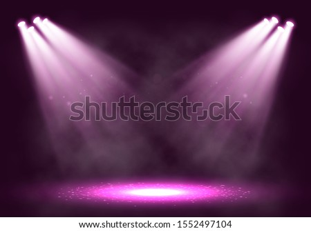 Spotlights. Scene for presentation with smoke illuminated by spotlights. Vector illustration.