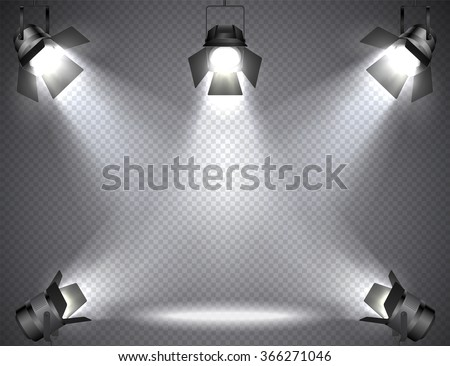 Spotlights With Bright Lights On Transparent Background