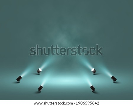 Spotlights with bright white light shining stage. Illuminated effect projector. Illustration of projector for studio. Vector illustration Foto stock ©