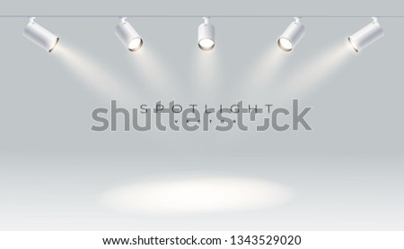 Spotlights with bright white light shining stage vector set. Illuminated effect form projector, illustration of projector for studio illumination eps 10