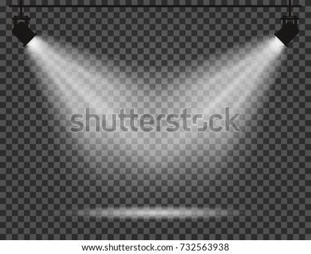 spotlights with light beams on