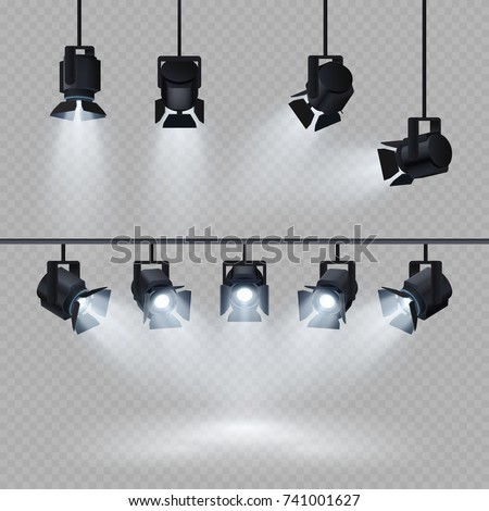 Spotlights with white light collection isolated on transparent background. Spotlight for show, bright beam from projector, vector illustration - Shutterstock ID 741001627
