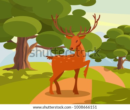 spotted deer with branched