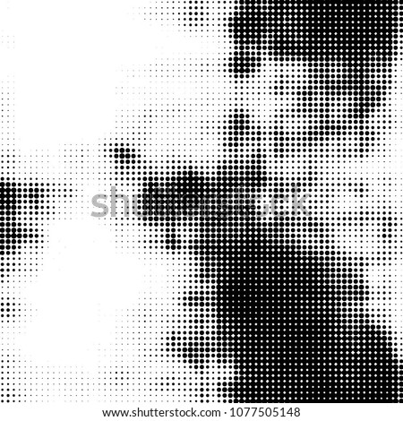 Spotted monochrome vector background. Abstract halftone illustration pattern. Vintage texture  #1077505148