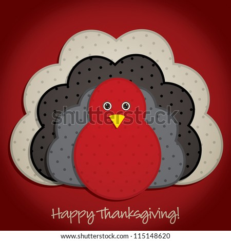 Spotty turkey Thanksgiving card in vector format. - stock vector