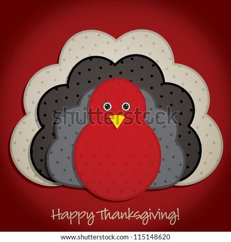 Spotty turkey Thanksgiving card in vector format.