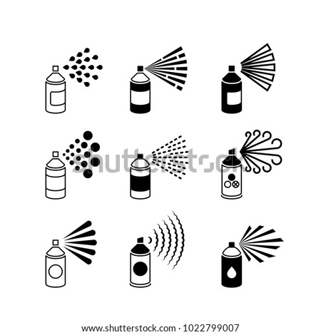 Spray aerosol bottle, graffiti can vector icons. Spray aerosol in bottle, hairspray compressed illustration